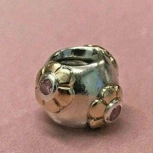 Pandora bead silver and gold flower